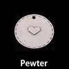 Pewter Stitched Edge Circle Pendant with Lil Heart