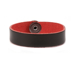 "Leather Bracelet 1/2"" Small, Black/Red"