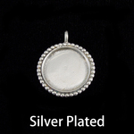 Silver Plated Circle with Dotted Edge, Medium