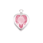 Swarovski Crystal Heart Silver Charm Pink Tourmaline (OCTOBER)
