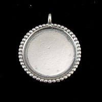 Sterling Silver Circle with Dotted Edge, Large
