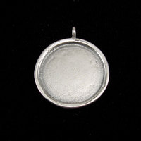 Sterling Silver Circle with Smooth Raised Edge, Large