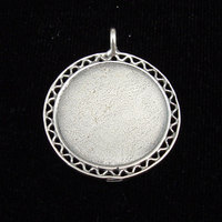 Sterling Silver Filigree Edge Pendant, Large