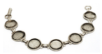 "Plated Silver Bracelet with 7 Bezels, 7/16"" (11mm) ID"