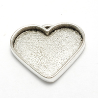 Plated Silver Wide Heart Designer Bezel