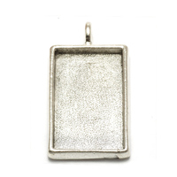 Plated Silver Rectangle Designer Bezel