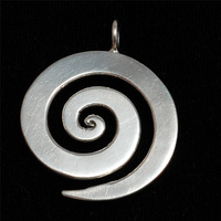 "Sterling Silver Large Spiral Pendant 1 1/8"" (28.5mm)"