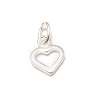 Sterling Silver Tiny Open Heart Charm with Top Loop