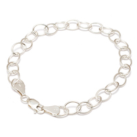 Sterling Silver Charm Chain Bracelet, 7.25""