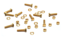 "Mini Brass Hex Nuts, Washers and Bolts, 1/4"", 10 sets"