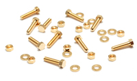 "Mini Gold Plated Hex Nuts, Washers & Bolts, 1/4"", 10 sets"