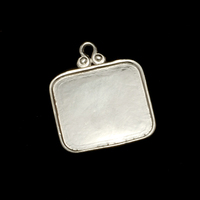 Sterling Silver Rounded Square Pendant with Raised Edge