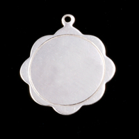 Sterling Silver Scalloped Pendant with Circle Border, 24g