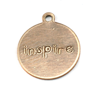 "Antiqued Brass Circle ""inspire"" Tag with Top Loop, 24g"