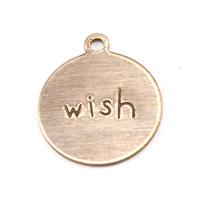 "Antiqued Brass Circle ""wish"" Tag with Top Loop, 24g"