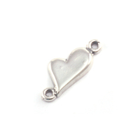 Sterling Silver Asymmetrical Heart Link with Two Loops