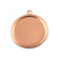 "Copper 7/8"" (22mm) Pressed Circle w/Raised Edge"