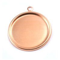 "Copper 1 1/8"" (29mm) Pressed Circle w/Raised Edge"