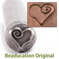 Large Heart with Spiral Stamp (7.5mm)-Beaducation Original