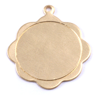 Brass Scalloped Pendant with Circle Border, 24g