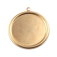 "Brass 1 1/8"" (29mm) Pressed Circle w/Raised Edge"