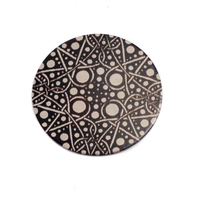 "Anodized Aluminum 5/8"" Circle, Black Design #16, 22g"