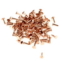 "Copper Solid Nail Head 1/20"" Rivets, 1/4"" Long, Pk 100"