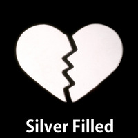 Silver Filled Broken Heart Blank, 24g