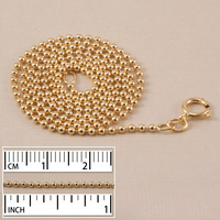 "Gold Filled 1.5mm Ball Chain, 16"" - Spring Ring Clasp"