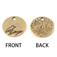Gold Plated Bird Pendant 1/2 inch (13mm) Circle, 16g