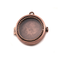 Antique Plated Copper Round Beaded Locket