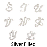 Silver Filled Script Letter Charm W, 24g