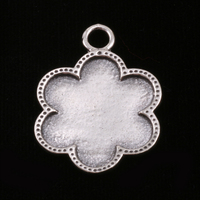 Sterling Silver Flower with Dotted Edge