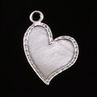 Sterling Silver Stylized Heart with Peened Edge