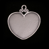 Sterling Silver Heart Pendant with Raised Edge (OXIDIZED)