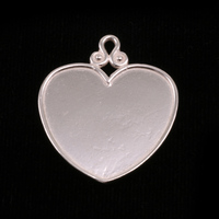 Sterling Silver Heart Pendant with Raised Edge