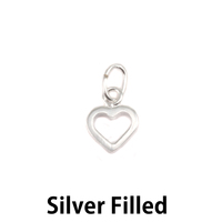 Silver Filled Tiny Open Heart Charm with Top Loop