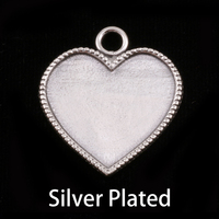 Silver Plated Heart with Beaded Edge