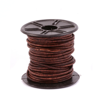 Leather Cord, Round 1.5mm, Brown 32.8 ft