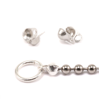 Silver Plated Ball Tip Connectors for 1.5-2mm Chain, 2pk