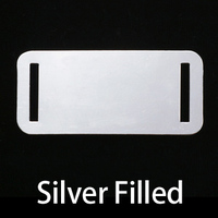 Silver Filled Rectangle Component w/Slit Cutouts, 24g