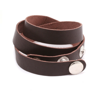 "Stampable Leather Wrap Around Bracelet 1/2"" Adjustable, Brown"