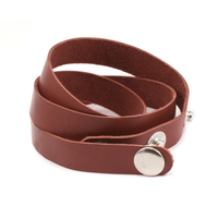 "Stampable Leather Wrap Around Bracelet 1/2"" Adjustable, Rust"