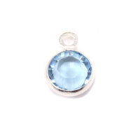 Swarovski Crystal Channel Charm (Aquamarine - MARCH)