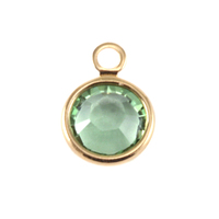 Swarovski Crystal Channel Gold Charm (Peridot - AUGUST)