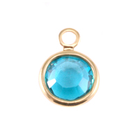 Swarovski Crystal Channel Gold Charm (Blue Zircon - DECEMBER)