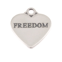 Sterling Silver Heart Charm with Top Loop, FREEDOM