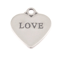 Sterling Silver Heart Charm with Top Loop, LOVE