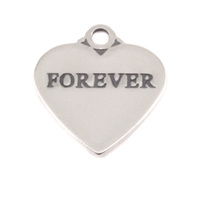 Sterling Silver Heart Charm with Top Loop, FOREVER