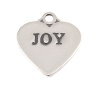 Sterling Silver Heart Charm with Top Loop, JOY